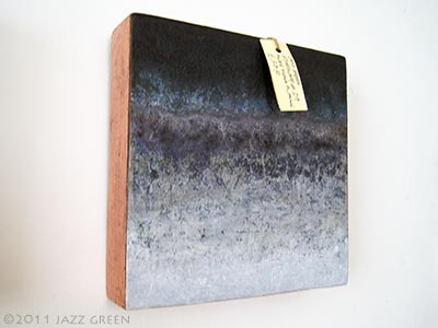 abstract painting, textured, stone blue watery violet grey - small work on panel