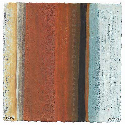 small striated abstract painting on deckled paper by jazz green