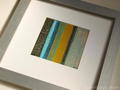 Abstract Painting. Mustard, Turquoise, Olive, Grey Stripes