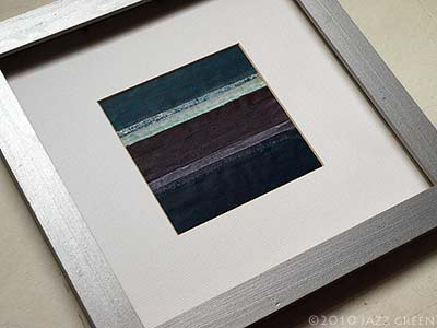 Small Abstract Painting. Grey Brown Teal Blue stripes