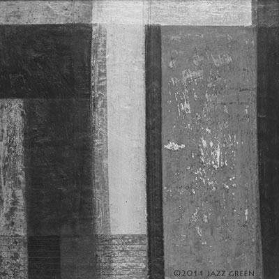 Orange slab, dark brown and various greys - abstract composition, grid structure painting on wood - by artist Jazz Green