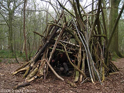 artist in the woods - wood shelter structure
