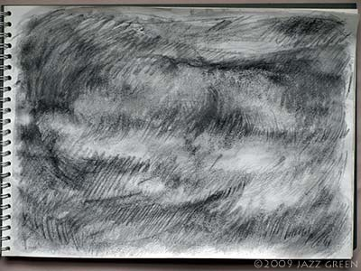 sketchbook drawing - clouds - studies in graphite