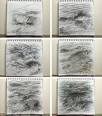 blind drawings of the sea