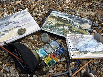 coast sketchbooks - dunwich beach drawings
