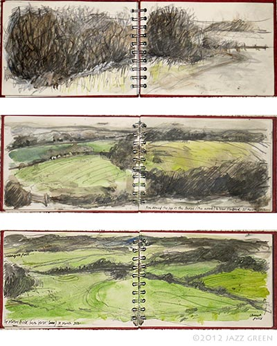 sketchbook, sketches of fields and hedegrows, flatford, dedham vale, constable country