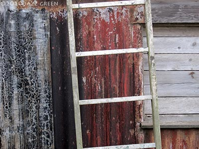 corrugated-rust-shed-ladder