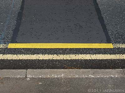 double yellow lines - minor found abstract painterly incident on the road