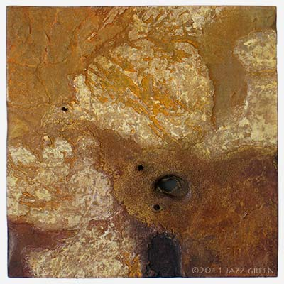 earthbound painting surface, eroded textured abstract painting on panel