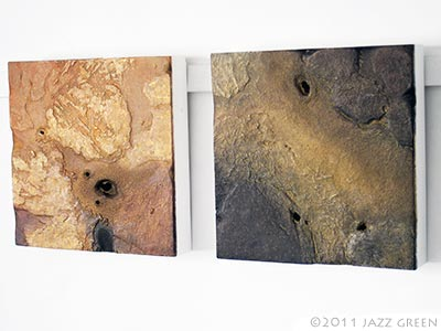 two earthbound art panel paintings, white wall display