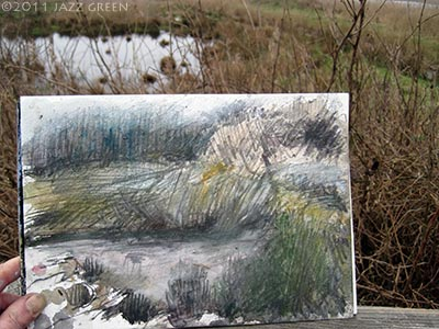 local wetland fen - sketch in watercolour, acrylic, pencil