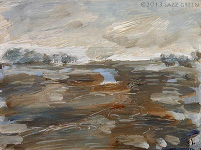 flooded field landscape sketch painting