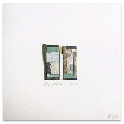 rustic abstract fragments art collage on square card