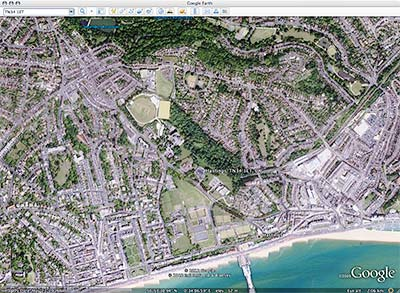 google earth - a satellite view of hastings, united kingdom