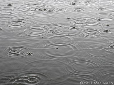 lake water surface - rain droplets