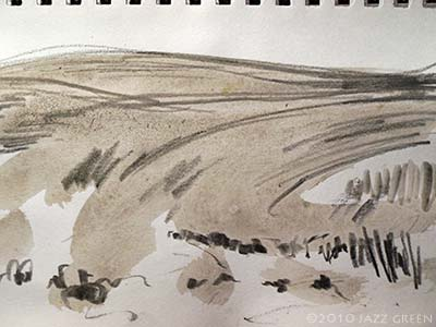 ketchbook - landscape field drawing abstract