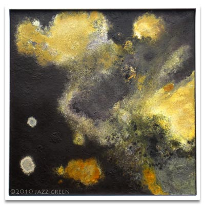 lichenscape I, abstract painting by artist jazz green - not selected for elements material worlds art exhibition, forum norwich, july 2011