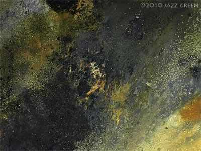 lichenscape by jazz green - detail of surface textures of abstract painting - cosmos, material worlds