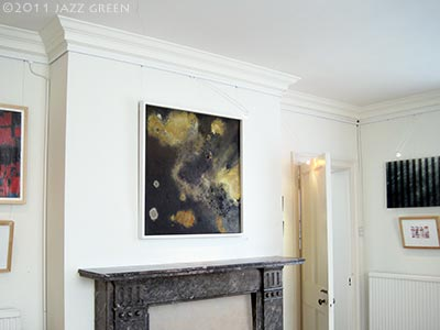lichenscape lichens abstract painting by jazz green - harleston gallery norfolk july 2011