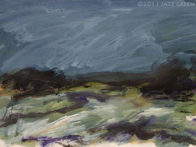 marsh rain landscape painting sketch