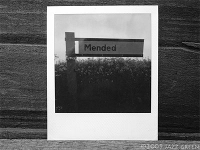 mended-road-sign-sx70-polaroid-photograph