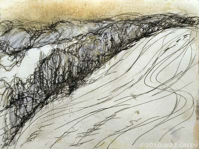sketchbook drawing - winter - trees hedgrows hill snow landscape suffolk