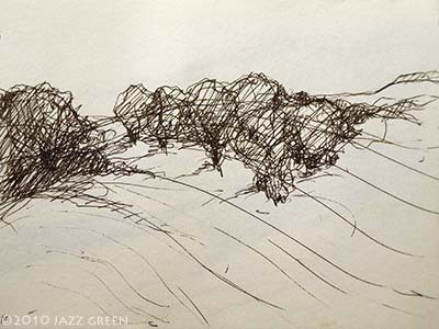 sketchbook - drawing - snow on hill with trees