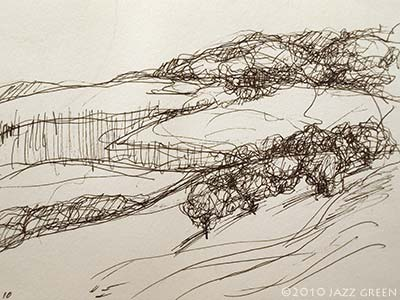 sketchbook drawing in pen - fields and trees in winter