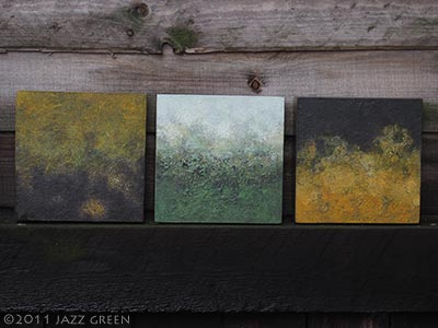 small abstract paintings on wood - patterns of mould, fungus, decay