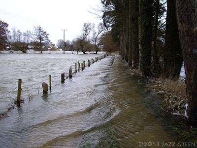 norfolk landscape flood path rain winter