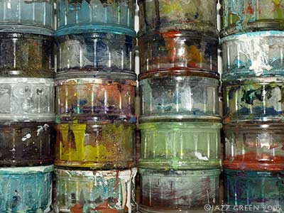 paint pots in the art studio