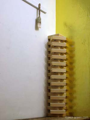 artist studio - wood blocks stacked up - skyscraper architecture, building sculptural