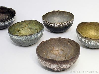 five small papier mache wabi sabi bowls