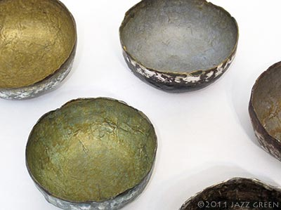 papier mache - handmade wabi sabi bowls with metallic patina