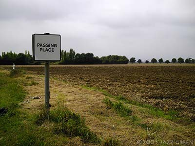 suffolk fields, old airfield, passing place sign