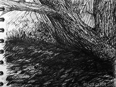 sketchbook drawing of tree at riverbank
