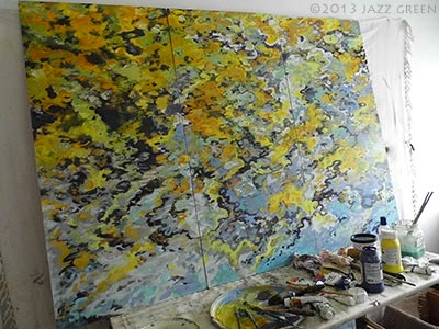 river seasons painting in progress - artist studio