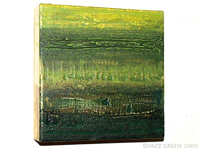 saltscapes algae green painting on wood panel