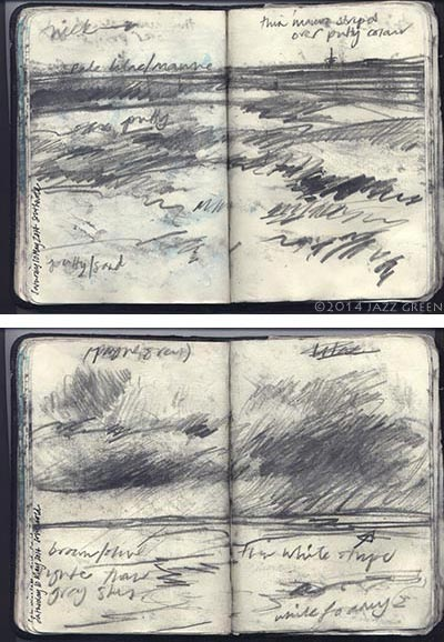 seascape sketchbook drawings