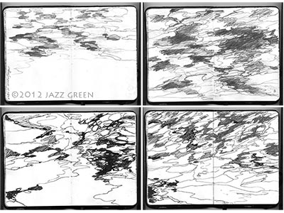 sketchbook drawings, water, lake, surface, patterns