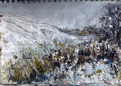 suffolk snow landscape painting - sketchbook