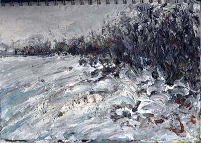 suffolk snow field hedgerow - sketchbook