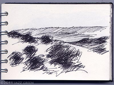 sketchbook drawings - trees in a landscape