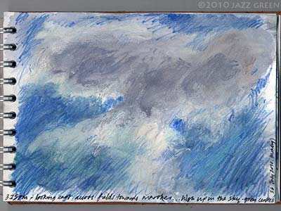 sketchbook drawing - study of a grey cloud