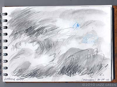 sketchbook drawing - more skies and clouds