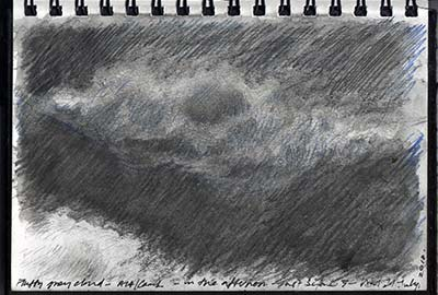 sketchbook drawing - sketch of a grey cloud