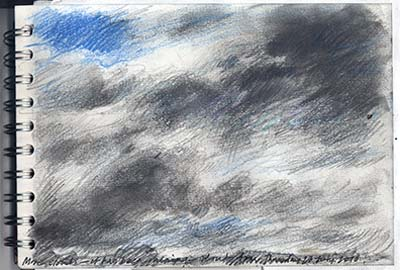 drawing study of rain clouds, in a sketchbook