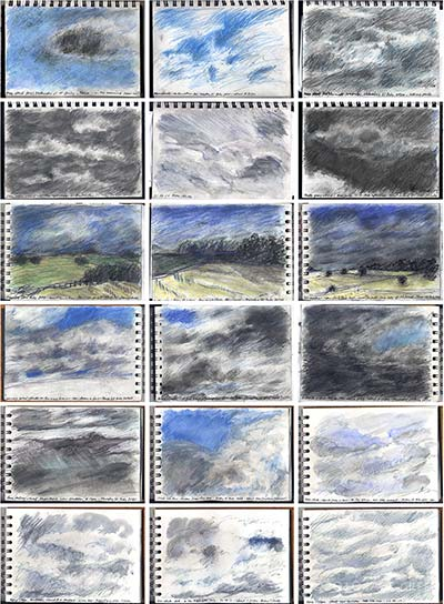 sketchbook drawings - studies of skies and clouds