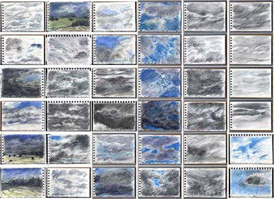 sketchbook pages - studies of clouds and skies, late july 2010