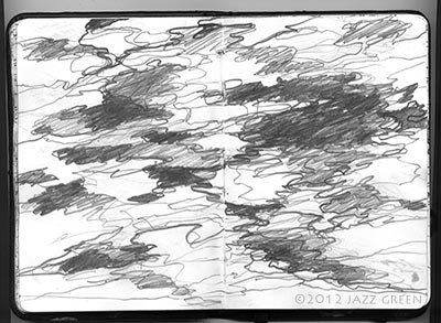 sketchbook drawing lake water ripples